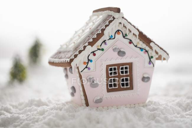 Casa di pan di zenzero con glassa rosa e zucchero in polvere neve — Foto stock