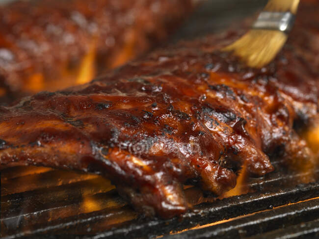 Spare ribs on a barbecue — Stock Photo