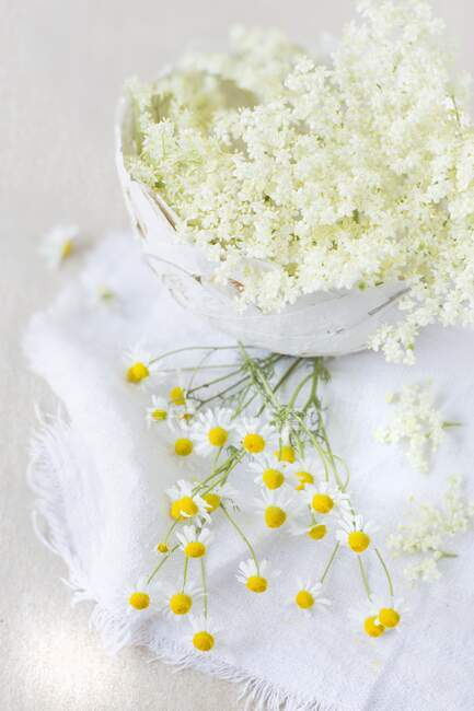 White jasmine flowers in a glass jar on a wooden background — Stock Photo