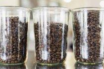 Roasted coffee beans in jars - foto de stock