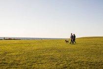 Casal com cão andando — Fotografia de Stock