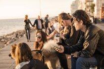 Amis avec chien passer du temps libre — Photo de stock