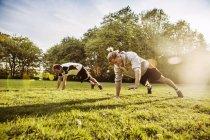 Jeunes hommes faisant des Push-ups — Photo de stock