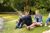 Friends sitting on grassy field — Stock Photo