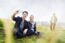 Happy friends taking selfie — Stock Photo