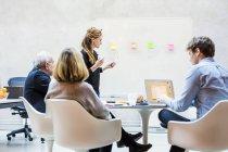 Mitte erwachsene Geschäftsfrau hält Vortrag — Stockfoto