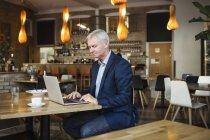 Uomo d'affari concentrato usando il portatile — Foto stock