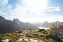 Hiker on mountain during summer — Stock Photo