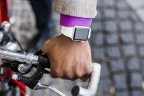 Businessman wearing smart watch — Stock Photo