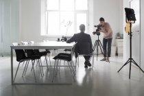 Photographer recording interview — Stock Photo