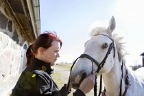 Женщина, держащая уздечку, глядя на лошадь — стоковое фото