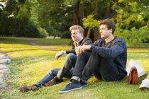 Handsome men sitting on grassy field — Stock Photo