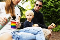 Parents and son having meal — Stock Photo