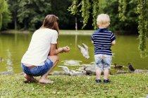 Mère et fils nourrissant les oiseaux — Photo de stock