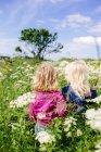 Sorelle che giocano sul campo contro il cielo — Foto stock