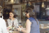 Women talking during lunch — стокове фото