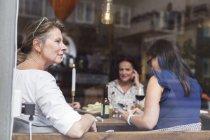 Women talking during lunch — Stockfoto