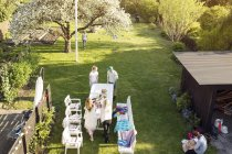 High angle view of garden party — Stock Photo