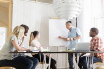 Coworkers discussing project in board room — Stock Photo