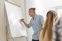 Editor writing on flipchart during business meeting — Stock Photo