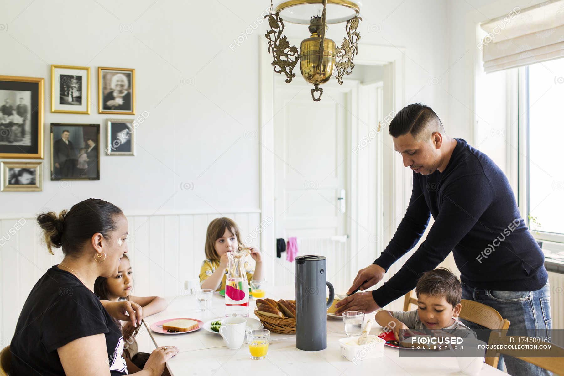 Family Dinner In Living Room Caucasian Food Stock Photo 174508168
