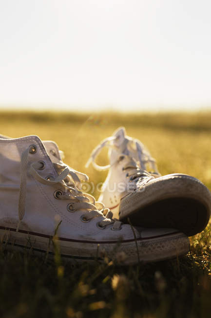 Canvas shoes on grassy field — Stock Photo