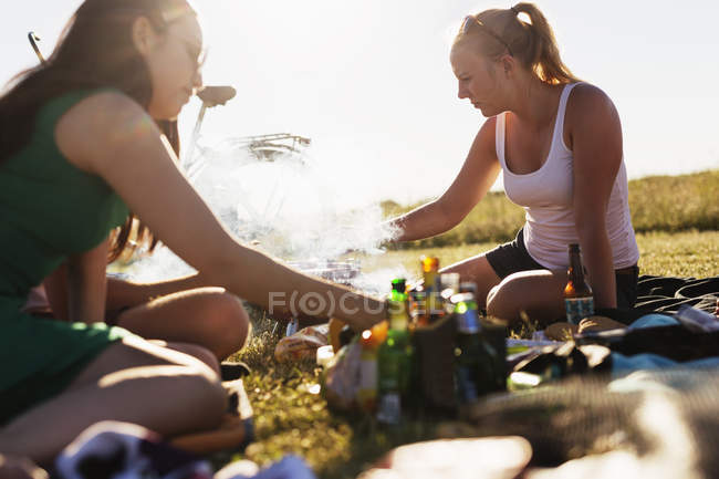 Friends barbecuing during picnic — Stock Photo