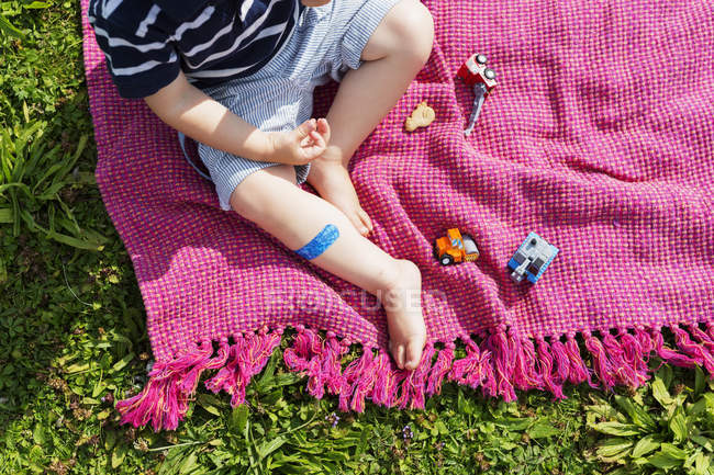 Boy with toy cars on picnic blanket — Stock Photo