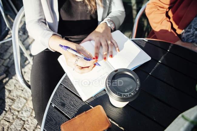 Бізнес-леді писати в щоденник — стокове фото