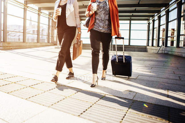 Businesswomen with luggage walking at railroad station — Stock Photo