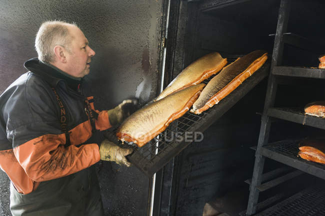 Рыбак устраивает рыбу — стоковое фото