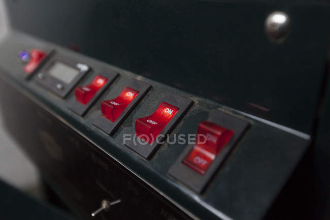 Switches on coffee machine — Stock Photo