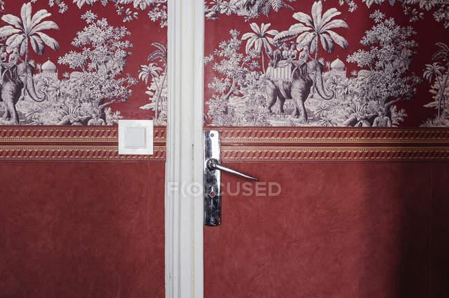 Ornate door with door handle and switch — Stock Photo