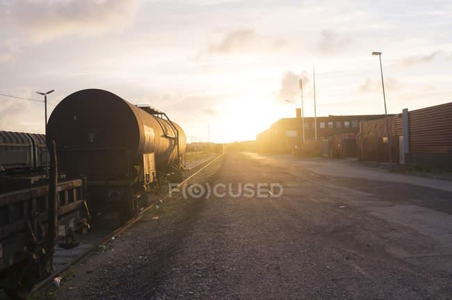Railroad tracks by road — Stock Photo