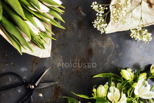 Цветы с ножницами на столе — стоковое фото