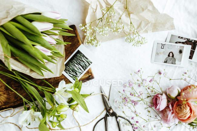 Квіти та фотографії на стіл — стокове фото