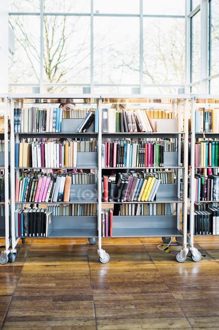 Libros dispuestos en estantes en la biblioteca - foto de stock
