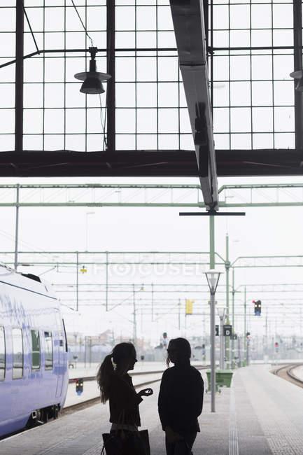 Amici femminili alla stazione della ferrovia — Foto stock