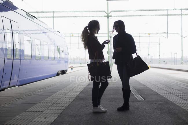 Молодые женщины общаются — стоковое фото