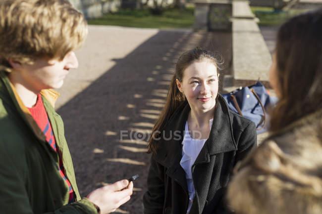Adolescente con gli amici — Foto stock