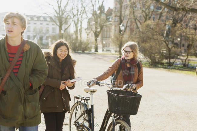 Amici del College a piedi sulla strada — Foto stock