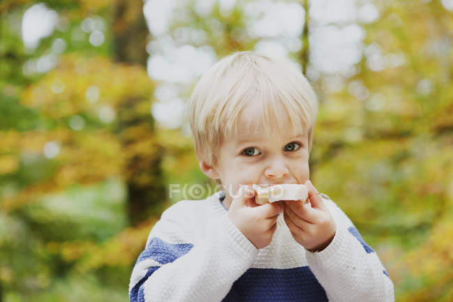 Boy eating bread in forest — Stock Photo
