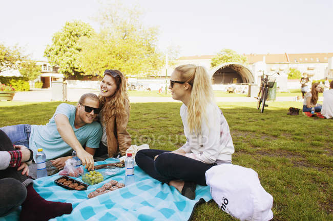 Happy friends enjoying picnic at park — Stock Photo