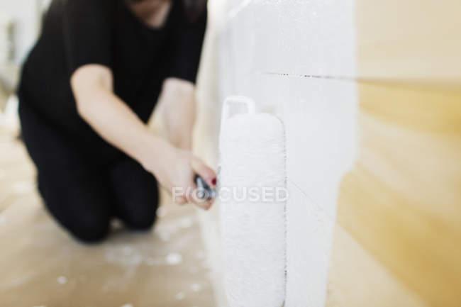 Parede de pintura de mulher — Fotografia de Stock