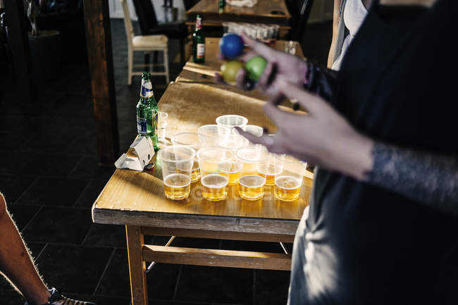 Beer pong cups on table — Stock Photo