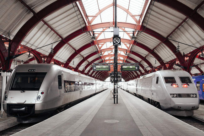 Trains à la gare — Photo de stock