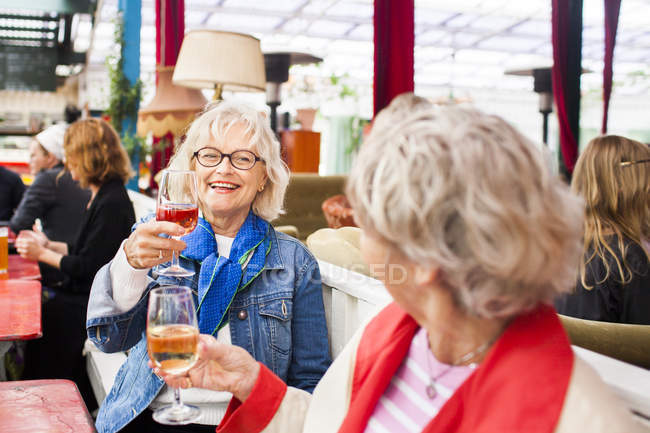 Senior women holding wineglasses — Stock Photo