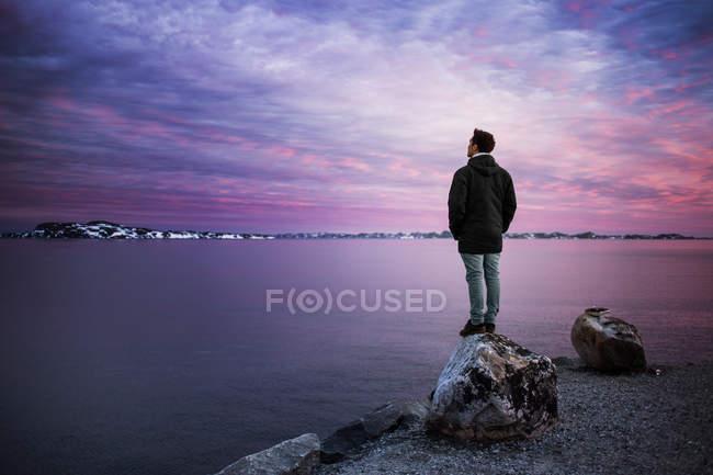 Hombre mirando el paisaje cubierto de nieve - foto de stock