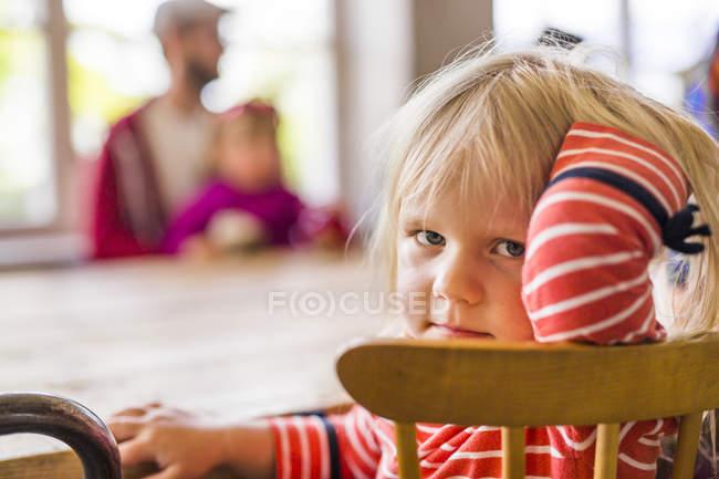 Portrait of girl at restaurant — Stock Photo