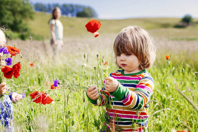 Girls holding poppy flowers — Stock Photo